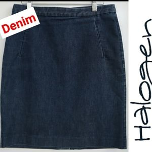 HALOGEN Denim Mini Jeans Skirt  Size 8 Petite